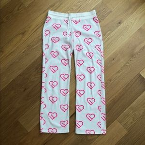 Fuzzy White and Pink Heart Pajama Pants